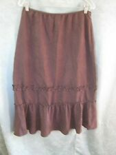 Van Heusen Skirt Size Large NWT Long Brown Tiered Microfiber Peachskin Modest