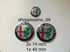 3 pz Kit Stemma Logo ALFA ROMEO 2x 74mm - 1x 40mm MiTo 147 156 159 166 Giulietta