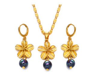 Gold Plated Necklace Earrings Set Hawaiian Flower Pearl Pendant Girls Jewellery