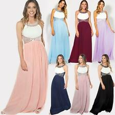 Women Ladies Crystal Chiffon Cocktail Evening Wedding Party Maxi Dress Gown 8-18