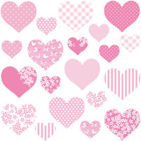 Childrens Pink Love Heart Wall Stickers MultiPinkHearts Hart.4.M
