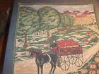 Tapestry/Pillow Top Farm Scene w/Barn, Apple Tree & Pumpkins #21TP