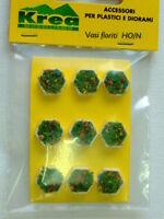 Vasi fioriti esagonali per plastici architettonici e ferroviari H0/N pezzi 9