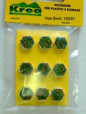 Vasi fioriti esagonali per plastici architettonici e ferroviari H0-1:87 pezzi 9