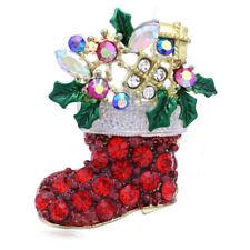 Pin Brooch Wreath Flower Mistletoe z1 Merry Christmas Red Gift Stocking Stuffers