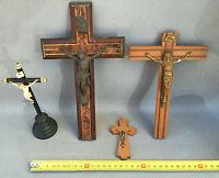 Lote de 4 antiguos crucifijo religión cristiano Francesa antiguo religiosa