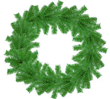 18'' Tinsel Christmas Wreath Metallic Green Hand-Made Artificial PVC Winter