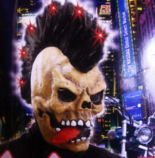 Skull Mask With Mohican Hair & Light Up LED's Punk Halloween Fancy Dress