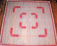 Swedish Weaving Embroidered Tablecloth Red on White Net