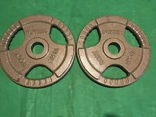 """2 x 10kg Body Power Cast Iron 2"""" Olympic Tri Grip plates 20kg Total Weight."""