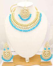 Traditional Bridal Indian Choker Firoza Jewelry Kundan Necklace Earrings Tikka