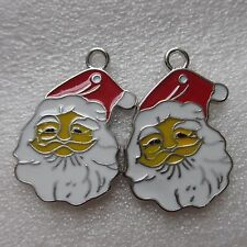 2 Big Santa Christmas Charms Silver Plated Enamel Pendants 35mm x 23mm UK Seller