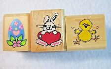 Rubber Stampede Rubber Stamp 3 Lot Suzy Zoo Warm Fuzzy Wishes Bunny Heart & Egg