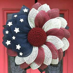 Patriotic Independence Wreath For Front Door Fourth of July Wreath Day Decor