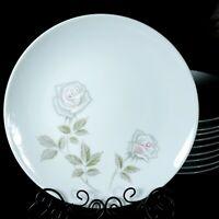 "Noritake Edenrose 8 1/4"" Salad Plate Vintage White with Gray/Pink Roses Dis 1971"