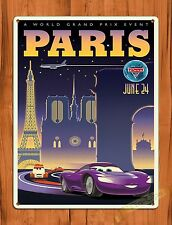 "Disney Tin Sign ""Cars 2 Paris"" Art Painting Movie Ride Poster"