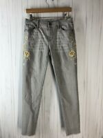 Driftwood Women's Size 28? Grey Embroidered Marilyn Skinny Jeans Fray Hem GUC
