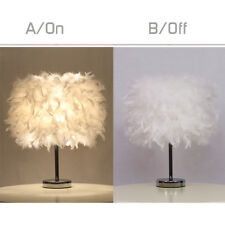 Feather Shade Table Lamp Metal Vintage Elegant Bedside Desk Night Light Decor