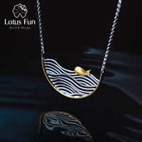Elegant 18K Gold Fish Wave Necklace Solid 925 Sterling Silver Jewelry for Women