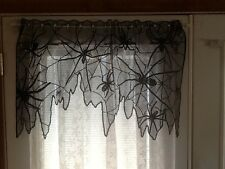 HERITAGE LACE BLACK HALLOWEEN SPIDER CURTAIN VALANCE 37.5WX21L ITEM A4