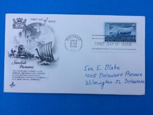 #958 FDC US Artcraft 1948 3c Swedish Pioneer Centennial Immigrants