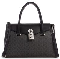 NWT GUESS GODFREY HANDBAG Black Grey Logo Satchel Crossbody Shoulder Bag GENUINE
