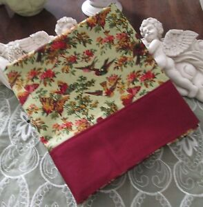 COUNTRY COTTAGE FLORAL COUNTRY GARDEN OF BIRDS & BUTTERFLIES PILLOWCASE - NEW