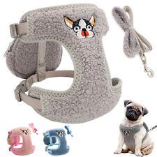 Extra Small Dog Harness&Lead&Treat Bag Soft Fleece+Mesh French Bulldog Grey Pink