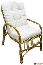Sedia poltrona Manao in vimini bambù rattan naturale con cuscino salotto casa