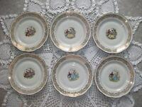 Anciennes assiettes plates Fragonard en Porcelaine Dure à Pâte d'Émaux Limoges 3