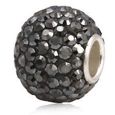 .925 Sterling Silver Crystal Rhinestone Bead Fits European Charm Bracelet SS231