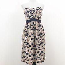 Burlapp Strapless Dress Size 6 100% Silk Pockets Navy Blue Orange Patterned