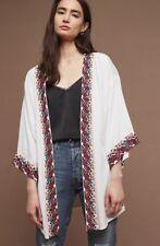 Anthropologie Kimono Jacket white Embroidered & Beaded Open O/S NEW $258