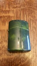 Green lacquer Sarome oil lighter & ashtray set