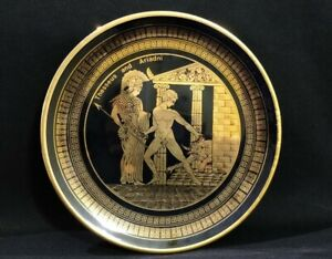 Greek Hand Made Collectors Plate Black And 24K Gold  20cm.