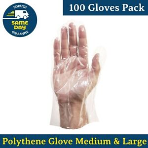 Polythene Disposable Gloves Powder Free Latex Free Accelerator Free 100-Pack PPE