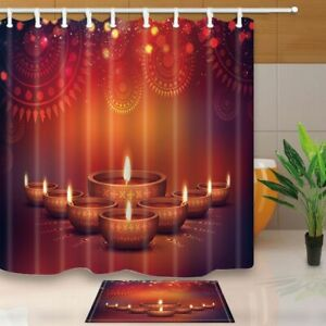 Happy Diwali Decor Elegant Oil Lamps With Floral Flower Waterproof Curtain Set