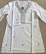 Chicos Womens Shine Tunic Top blouse Optic White Size 0 = US 4/6 S