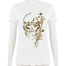 Alexander McQueen tono oro bianco con teschio ricamato T-shirt Top IT40 UK8