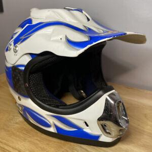 M2R Full Face HELMET Motorcross ATV Dirtbike 4 Wheeler Blue & White