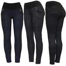 New Ladies Womens Black Check Print Skinny Slim Fit Legging Legging Trouser