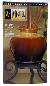 San Miguel Large Great Room Diffuser Teakwood Oil Oversized Reeds w Iron Stand