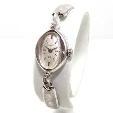 SHARP!!! Vintage Diamond Bulova 10K Rolled White Gold Ladies Watch 23J M7 QYE4