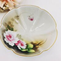 Antique Hand Painted Noritake Japan Morimura Mark Footed Bowl Flowers Pink Roses