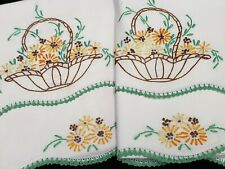 Vintage Pillowcases Hand Embroidered Crocheted Jadeite Green Yellow Floral 50s