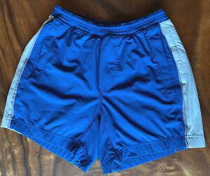 Lululemon Pace Breaker Lined Shorts Blue W/ Grey Stripes Sz Medium