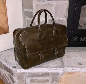 Vintage Samsonite Silhouette USA Antiqued-Green Leather Suitcase Bag Briefcase