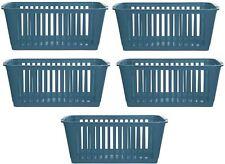 5x Whitefurze Plastic Nestable Handy Tidy Storage Basket Tray 25cm - Teal