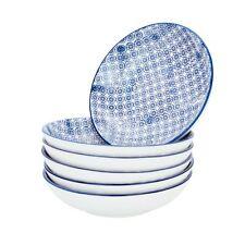 Nicola Spring Patterned Porcelain Pasta Bowls Blue Flower Print Design - Set of