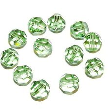 SCR542f PERIDOT Green Genuine Swarovski Crystal 8mm Faceted Round Beads 12/pkg